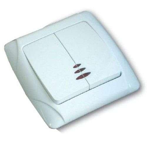Выключатель 2-кл. СП Маргарита 10А IP20 с подсветкой бел. UNIVersal М0123