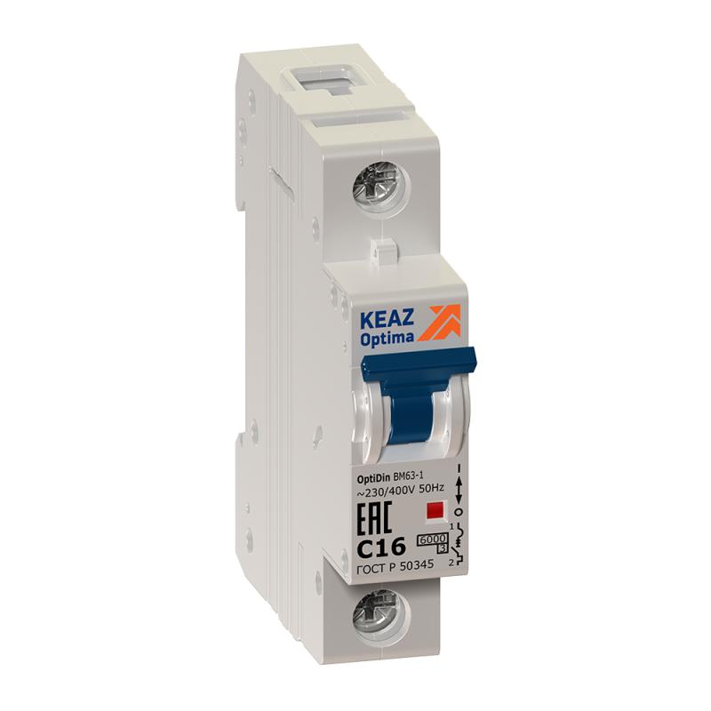 Выключатель автоматический модульный 1п C 40А 6кА OptiDin BM63-1C40-УХЛ3 КЭАЗ 260510