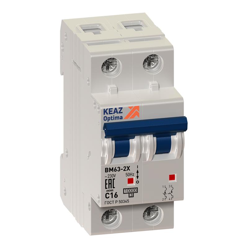 Выключатель автоматический модульный 2п C 6А 6кА OptiDin BM63-2C6-УХЛ3 КЭАЗ 260611