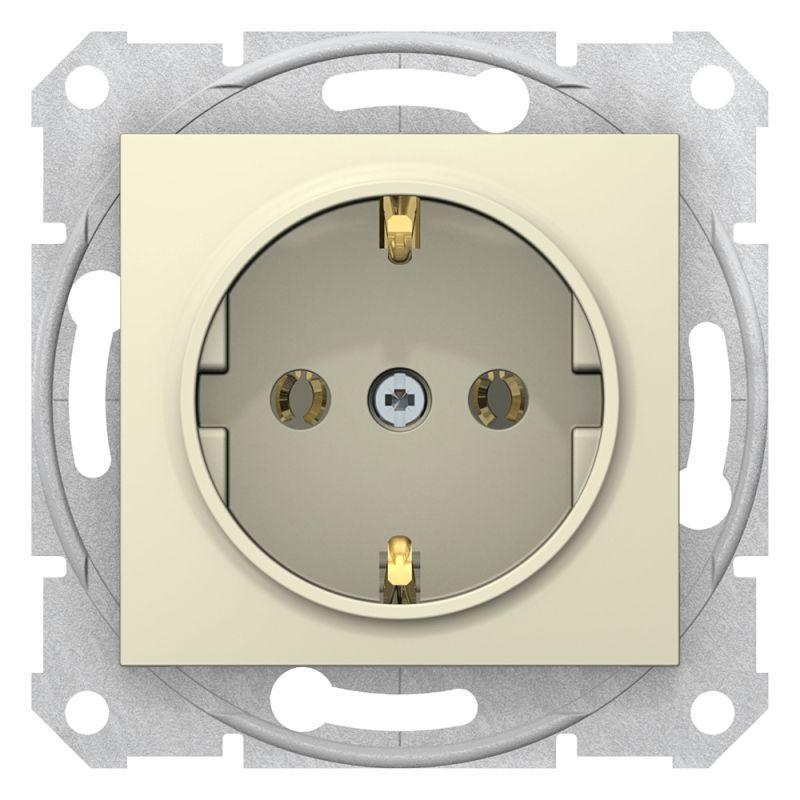 Механизм розетки 1-м СП Sedna 16А IP20 с заземл. быстрозажим. контакты без защ. шторок беж. SchE SDN3001847