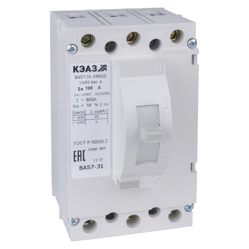 Выключатель автоматический 63А 800Im ВА57-31-340010 УХЛ3 690В AC КЭАЗ 108440