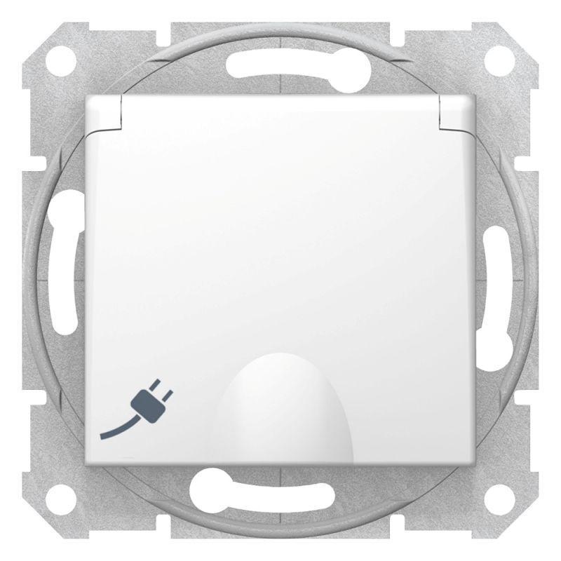Механизм розетки 1-м СП 1мод. Sedna 16А IP20 250В с заземл. защ. шторки с крышкой бел. SchE SDN3100121