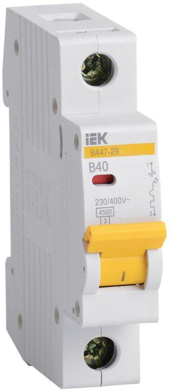 Выключатель автоматический модульный 1п B 40А 4.5кА ВА47-29 IEK MVA20-1-040-B