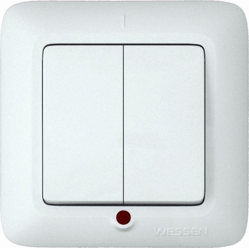 Выключатель 2-кл. СП Прима 6А IP20 250В с подсветкой бел. (розн. упак.) SchE S56-039-BI