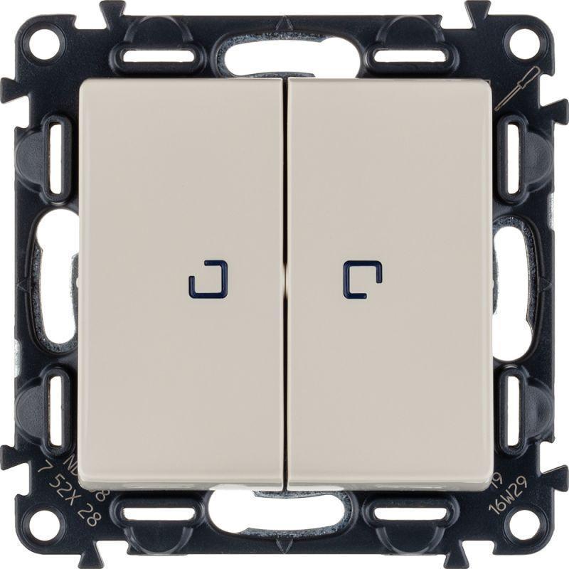 Механизм выключателя 2-кл. СП Valena Life 10А IP20 250В 10AX с подсветкой с лиц. панелью сл. кость Leg 752528