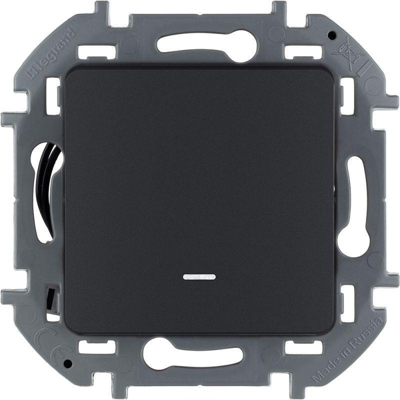 Механизм переключателя 1-кл. Inspiria 10А IP20 250В 10AX с подсветкой / индикацией антрацит Leg 673663
