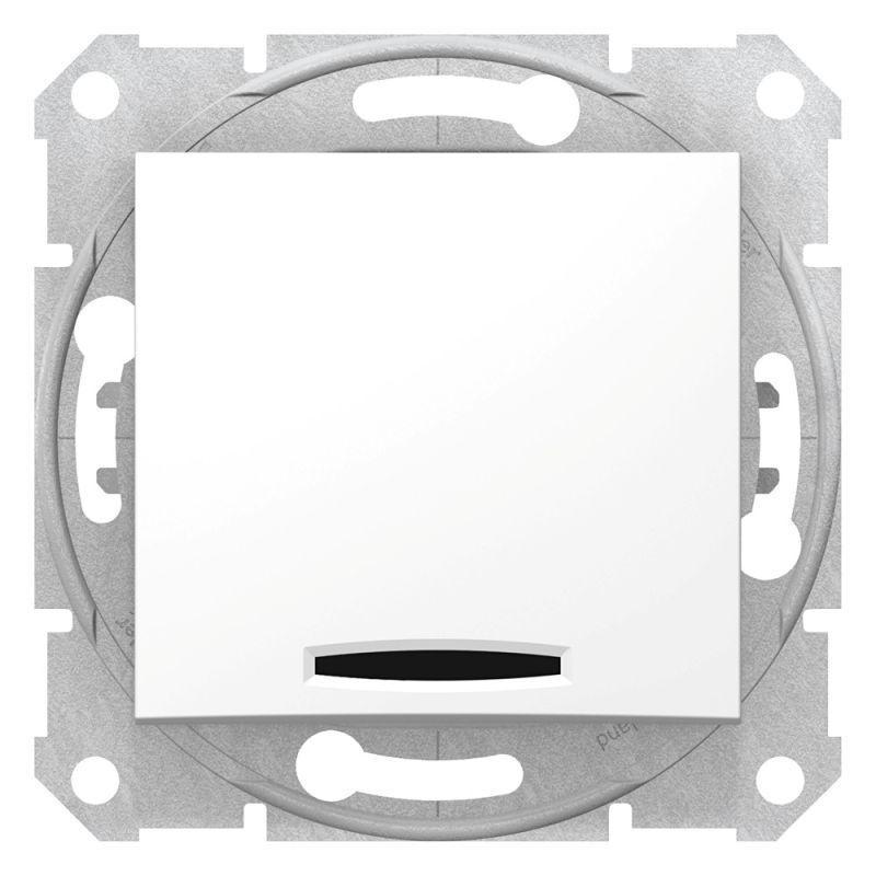 Механизм выключателя 1-кл. СП Sedna 10А IP20 (сх. 1а) 250В с син. подсветкой бел. SchE SDN1400121