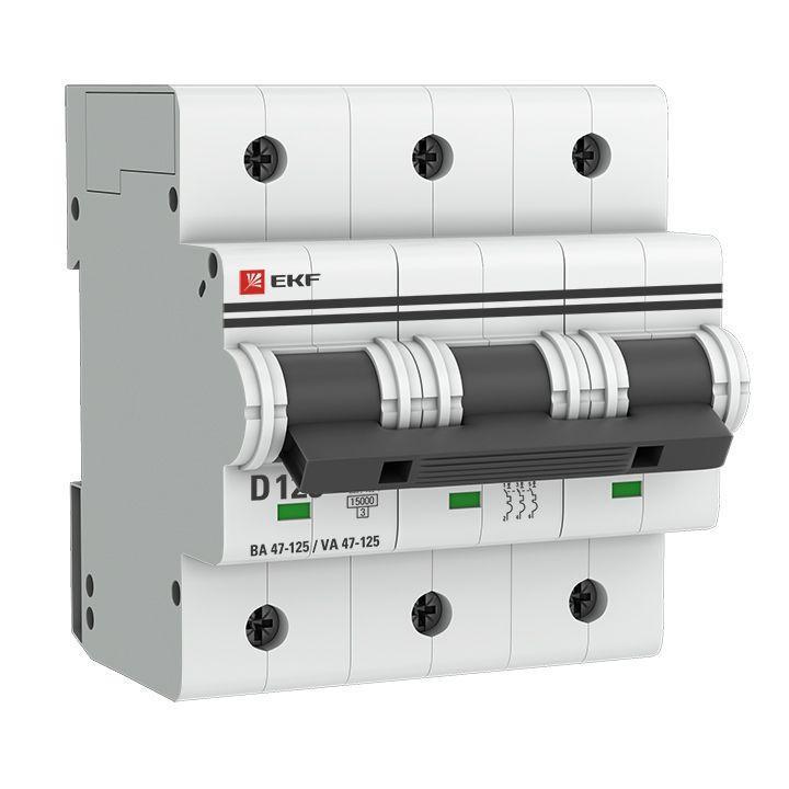 Выключатель автоматический модульный 3п D 125А 15кА ВА 47-125 PROxima EKF mcb47125-3-125D