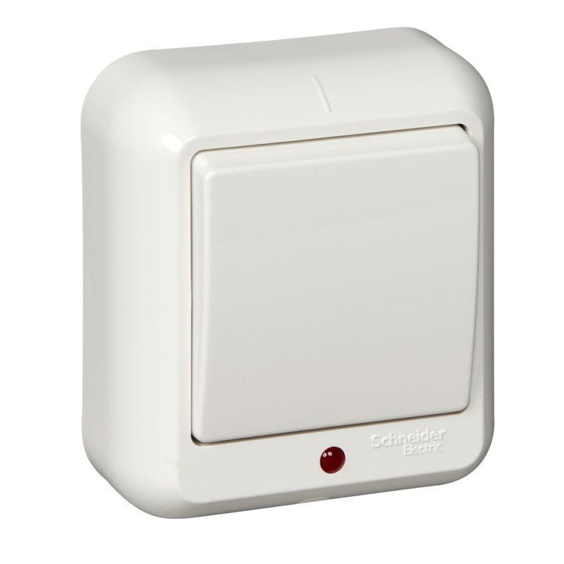 Выключатель 1-кл. ОП Прима 6А IP20 250В с подсветкой бел. (розн. упак.) SchE A16-046-BI