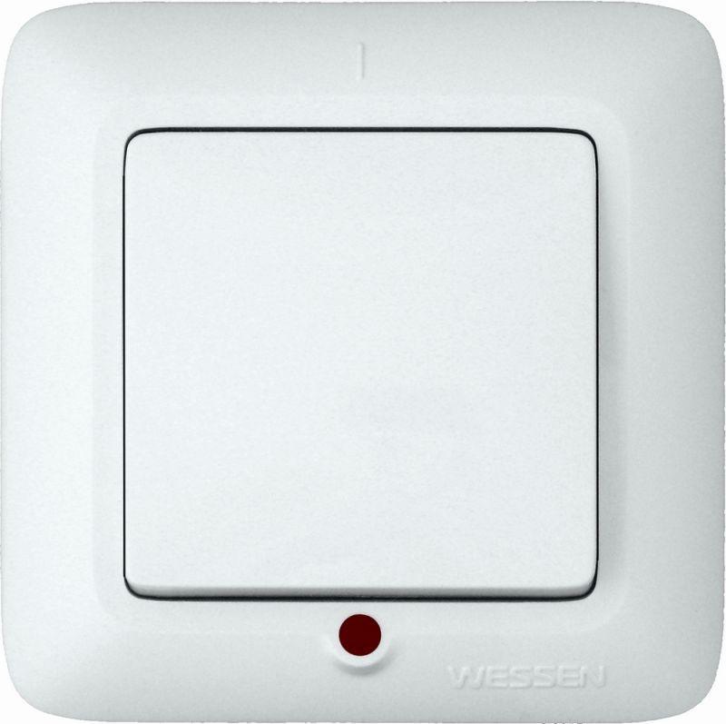 Выключатель 1-кл. СП Прима 6А IP20 с подсветкой бел. (розн. упак.) SchE S16-053-BI
