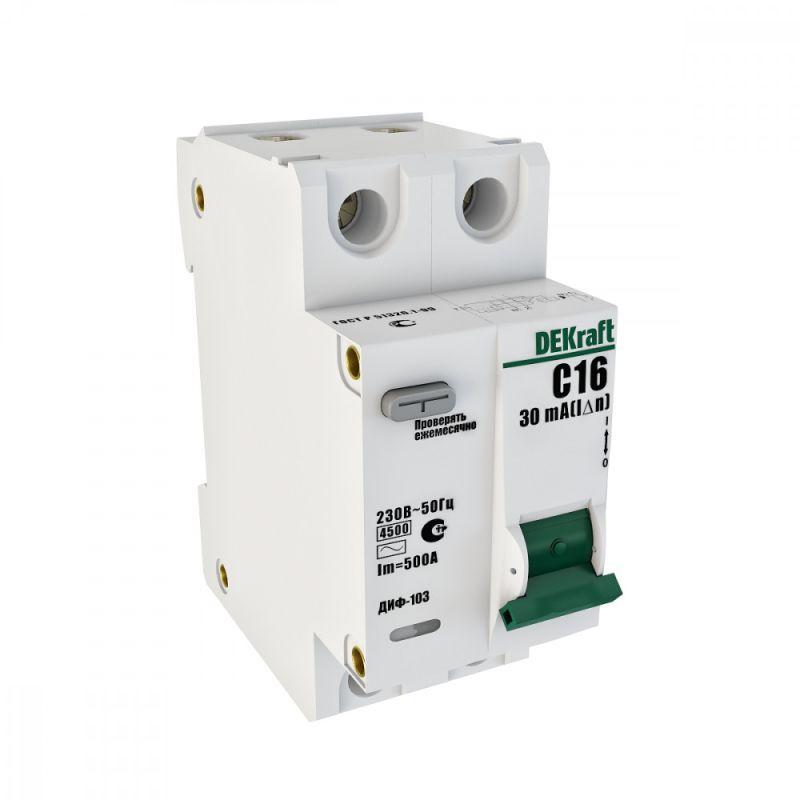 Выключатель авт. диф. тока 1Р+N 6А 30мА AC х-ка С ДИФ-103 4.5кА со вст. защ. от сверхтоков SchE 16011DEK