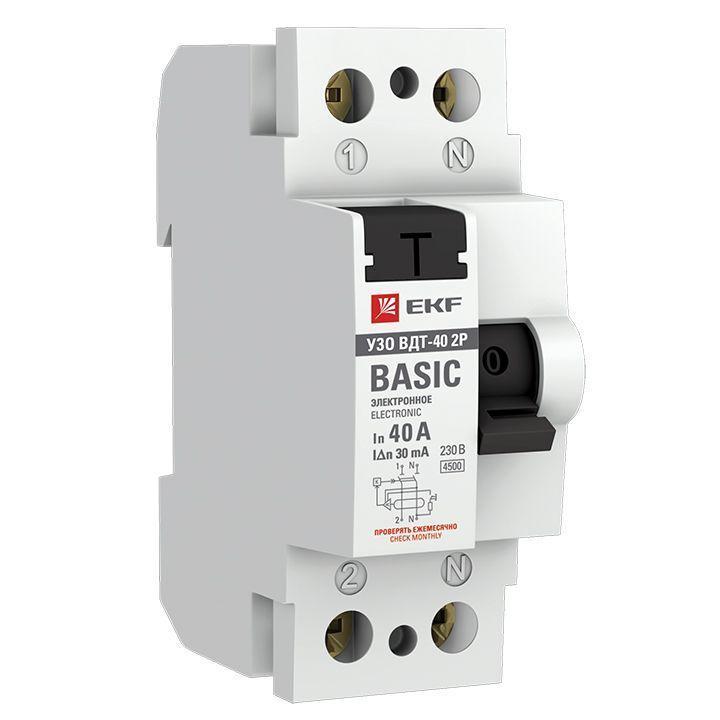 Выключатель дифференциального тока (УЗО) 2п 40А 30мА тип AC Basic электрон.EKF elcb-2-40-30e-sim