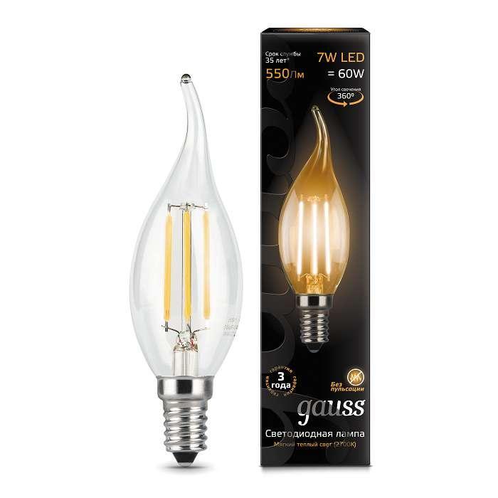 Лампа светодиодная филаментная Black Filament 7Вт свеча на ветру 2700К E14 Gauss 104801107