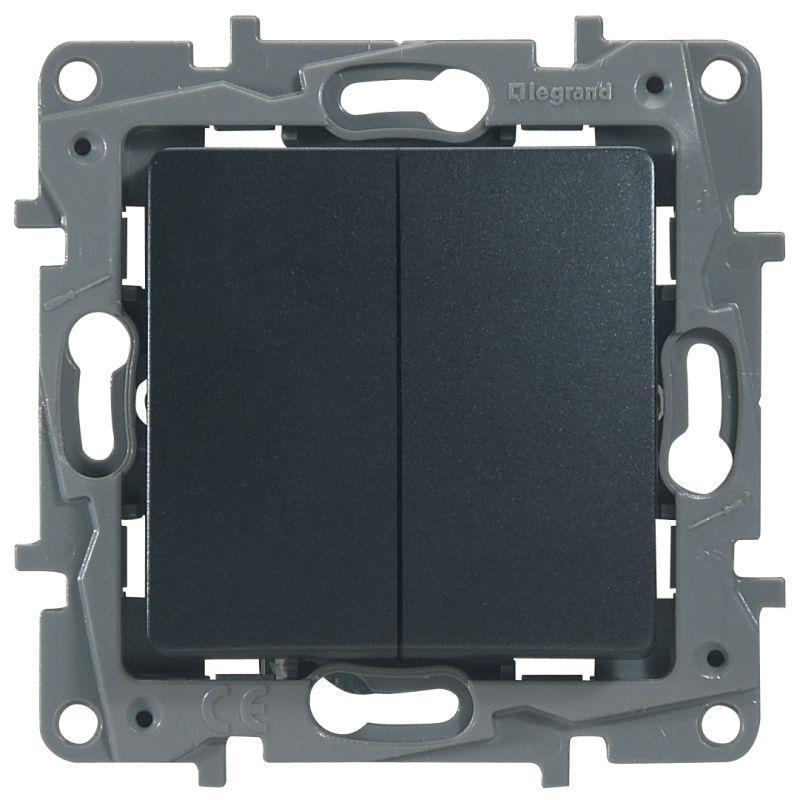 Механизм переключателя 2-кл. СП Etika Plus 10А IP20 250В 10AX безвинт. зажимы антрацит Leg 672612