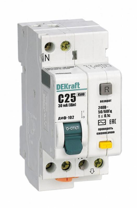 Выключатель автоматический дифференциального тока 2п (1P+N) C 10А 30мА тип AC 4.5кА ДИФ-102 2мод. SchE 16002DEK