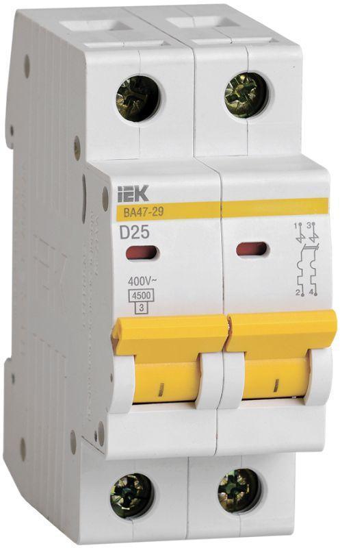 Выключатель автоматический модульный 2п D 25А 4.5кА ВА47-29 IEK MVA20-2-025-D