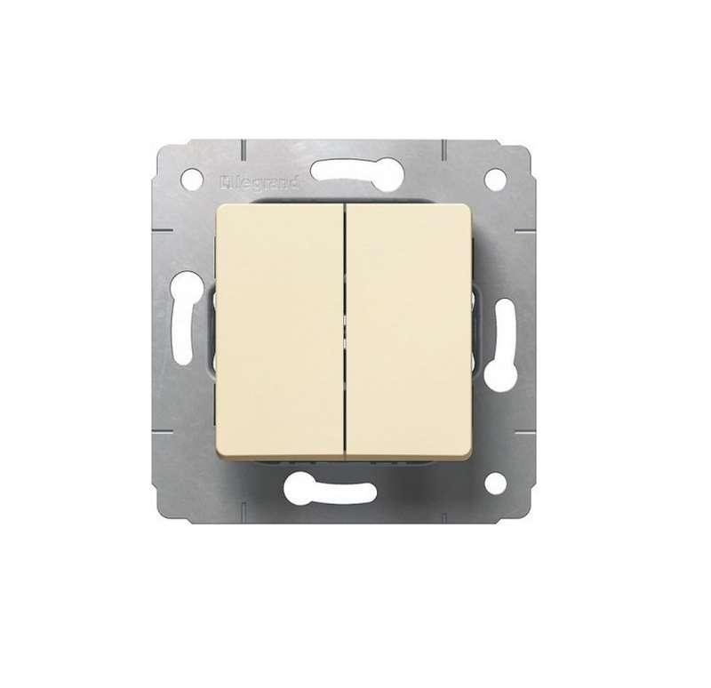 Механизм выключателя 2-кл. СП Cariva 10А IP20 250В авт. клеммы сл. кость Leg 773758