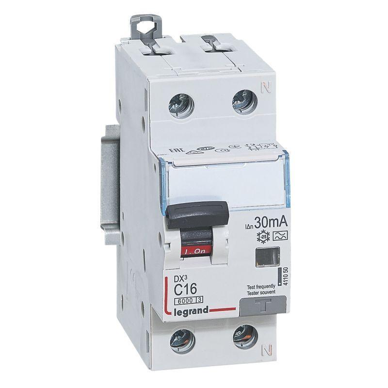 Выключатель автоматический дифференциального тока 2п (1P+N) C 16А 30мА тип A 6кА DX3 2мод. Leg 411050
