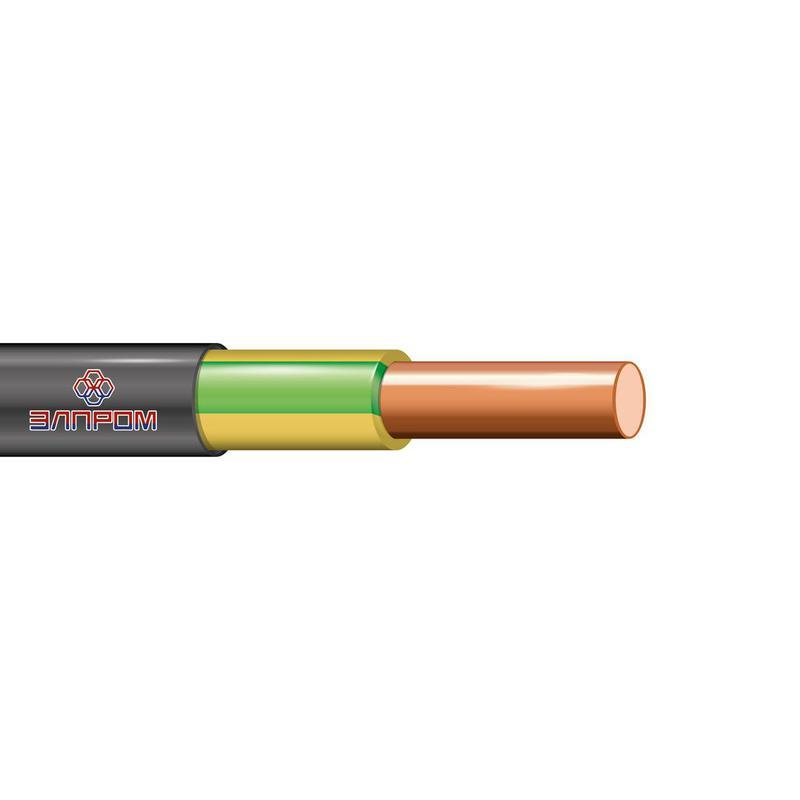 Кабель ВВГнг(А)-LS 1х6 Ж/З ОК 0.66кВ (бухта) (м) ЭлПром НТ000002871