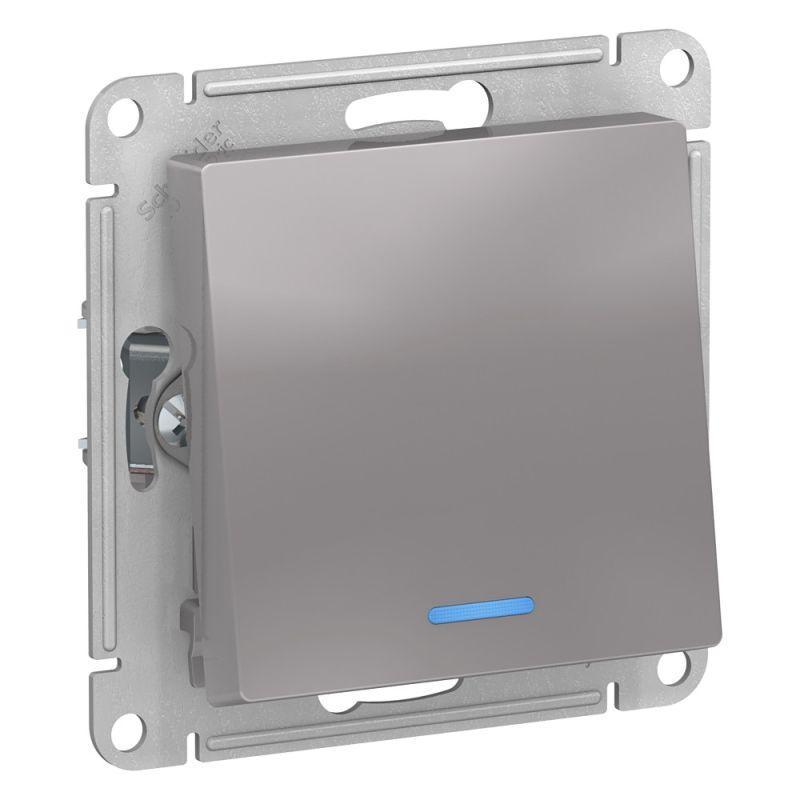 Механизм переключателя 1-кл. СП AtlasDesign 10А IP20 (сх. 6а) 10AX с подсветкой алюм. SchE ATN000363