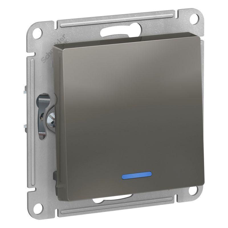 Механизм выключателя 1-кл. СП AtlasDesign 10А IP20 (сх. 1а) 10AX с подсветкой сталь SchE ATN000913
