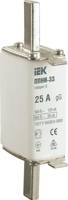 Вставка плавкая ППНИ-33 25А габарит 0 IEK DPP20-025