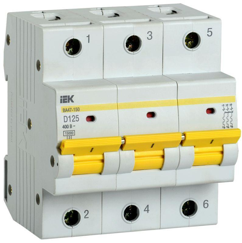 Выключатель автоматический модульный 3п D 125А 15кА ВА47-150 IEK MVA50-3-125-D
