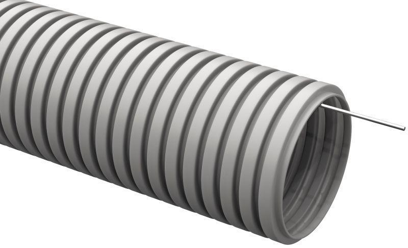 Труба гофрированная ПВХ d20мм с протяжкой сер. (уп.25м) IEK CTG20-20-K41-025I