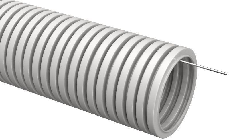 Труба гофрированная ПВХ d32мм с протяжкой сер. (уп.10м) IEK CTG20-32-K41-010I