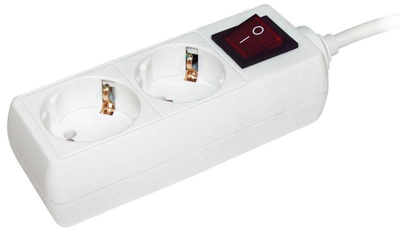 Удлинитель 2х3м с заземл. 16А IP20 У02К с выкл. 2P+PE IEK WYP10-16-02-03-ZK-N
