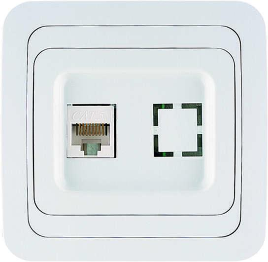 Розетка компьютерная 1-м СП Mimoza 16А IP20 бел./бел. Makel 12035