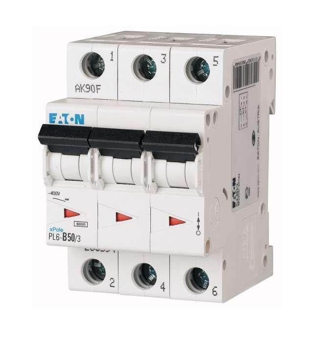 Выключатель автоматический модульный 3п C 50А 6кА PL6-C50/3 EATON 286606