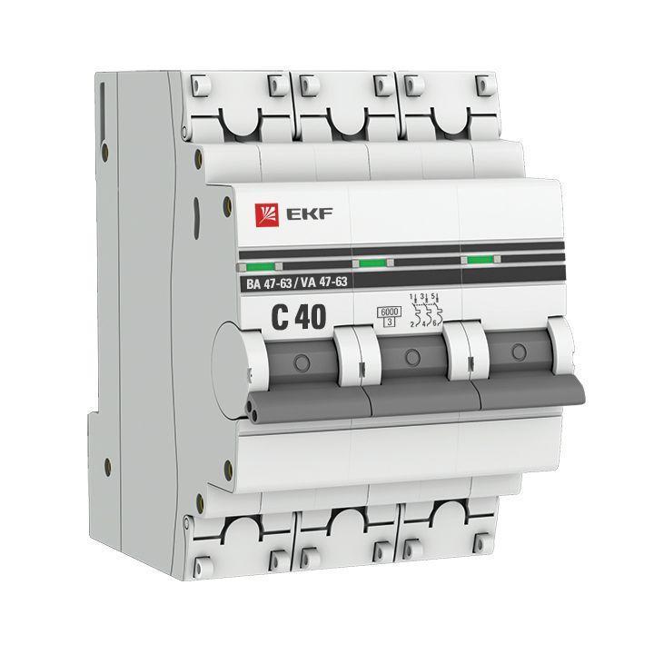 Выключатель автоматический модульный 3п C 40А 6кА ВА 47-63 PROxima EKF mcb4763-6-3-40C-pro