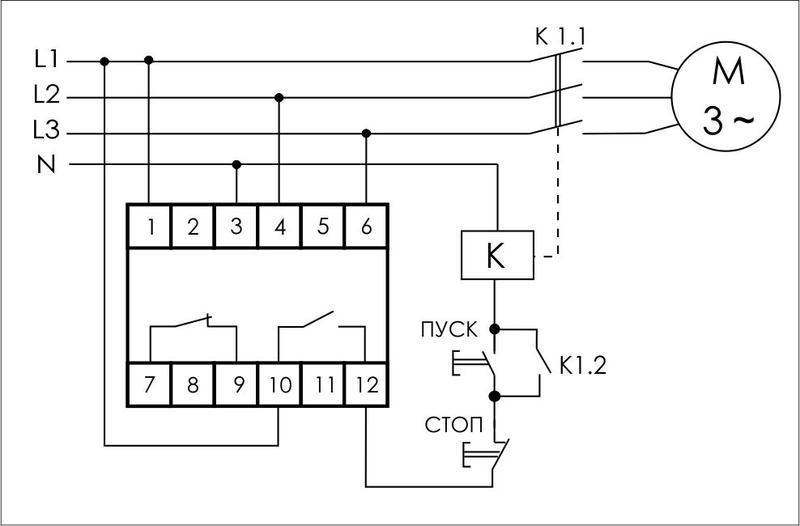Реле контроля и наличия фаз CZF-312 (монтаж на DIN-рейке 35мм; регулировка порога; без задержки отключения; 3х400/230+N 2х8А 1Z 1R IP20) Famp;F EA04.001.007