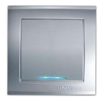 Выключатель 1-кл. СП Бриллиант 10А IP20 с подсветкой серебр. UNIVersal 7949643
