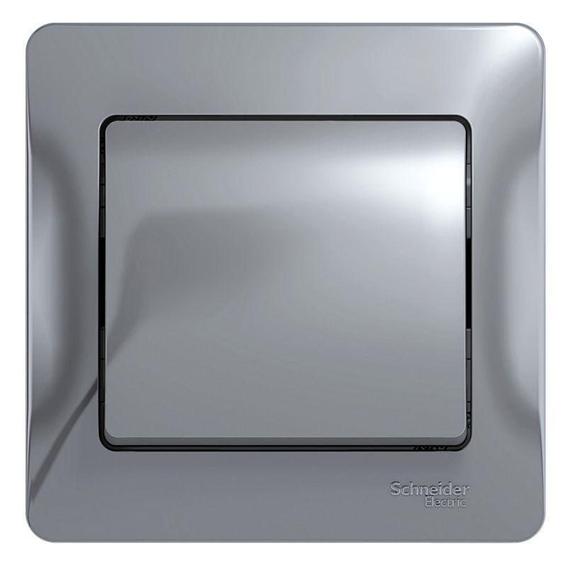 Выключатель 1-кл. СП Glossa 10А IP20 (сх. 1) 10AX в сборе алюм. SchE GSL000312