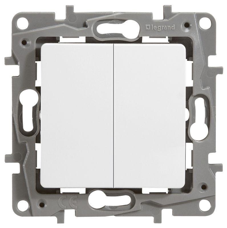 Механизм выключателя 2-кл. СП Etika 10А IP20 250В 10AX с подсветкой / индикацией безвинт. зажимы бел. Leg 672204