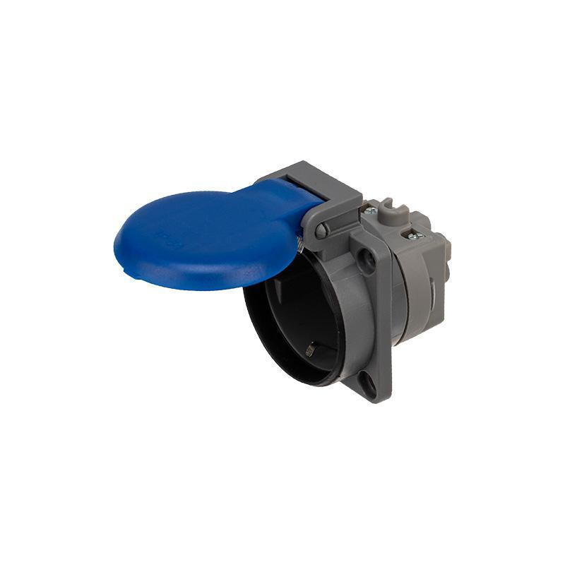 Розетка влагозащ. с крышкой с/з скрытая установка16А IP54 каучук Rexant 111-008