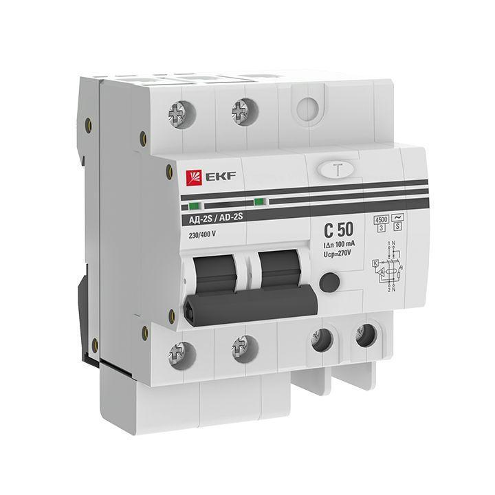 Выключатель автоматический дифференциального тока 2п 4мод. C 50А 100мА тип AC 4.5кА АД-2 S PROxima EKF DA2-50-100S-pro