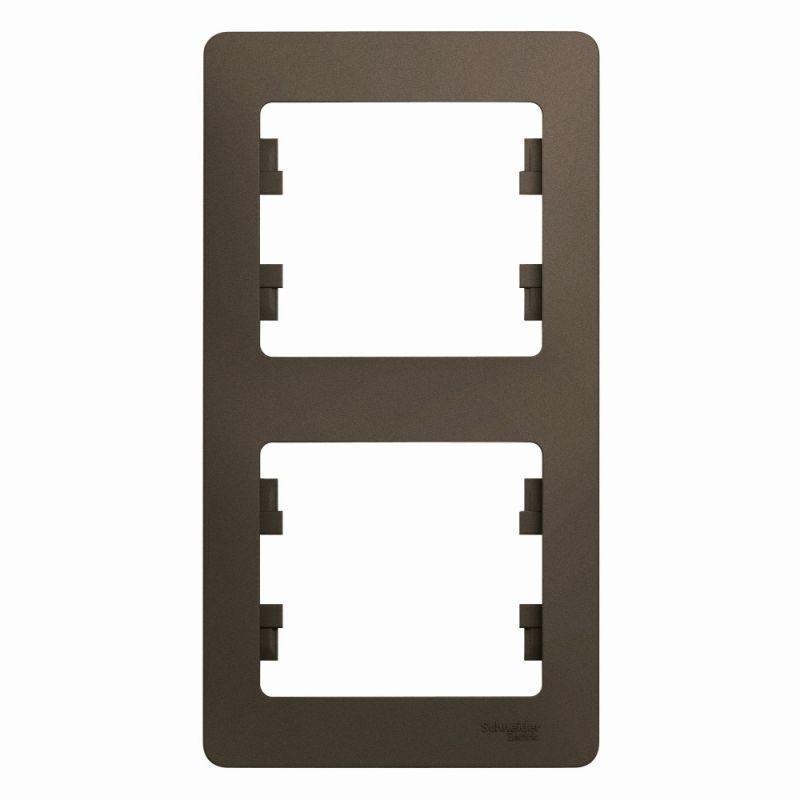 Рамка 2-м Glossa верт. шоколад SchE GSL000806