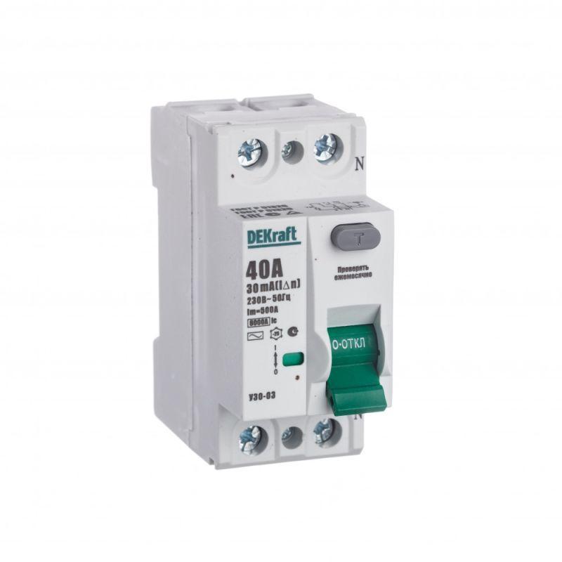 Выключатель дифференциального тока (УЗО) 2п 40А 30мА тип AC 6кА УЗО-03 SchE 14056DEK