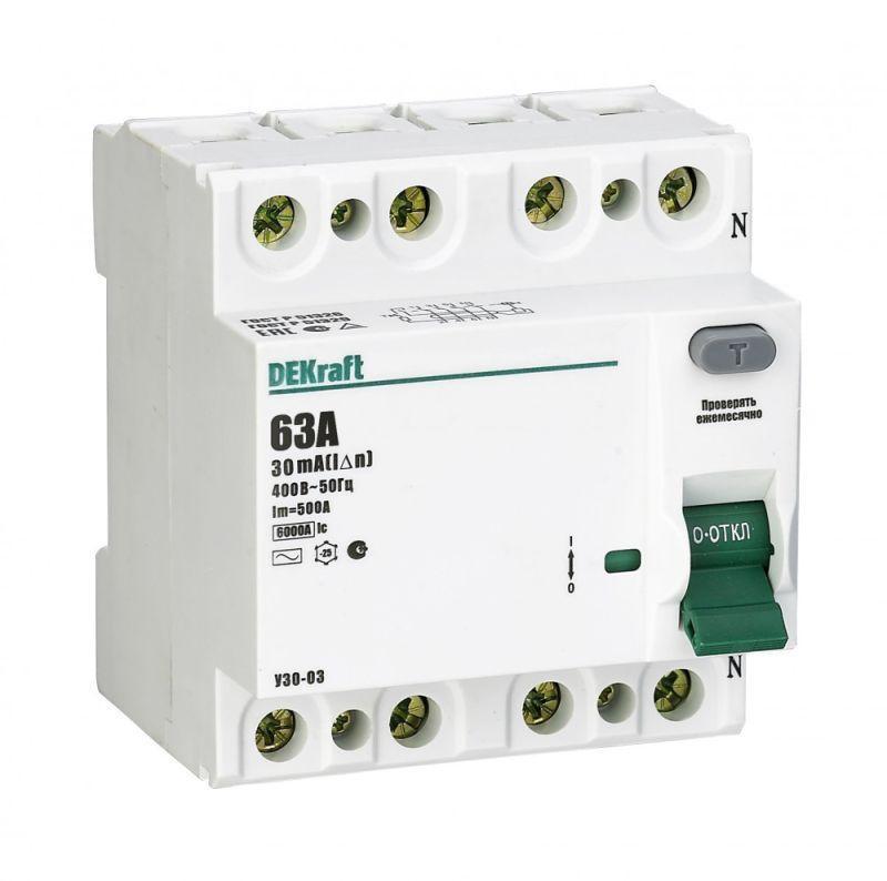 Выключатель дифференциального тока (УЗО) 4п 63А 30мА тип AC 6кА УЗО-03 SchE 14081DEK