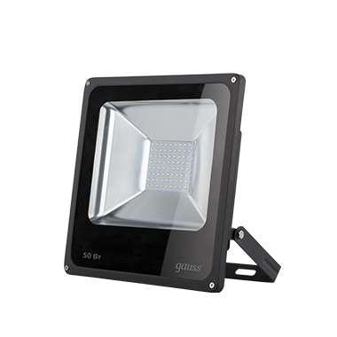 Прожектор светодиодный Elementary 50Вт IP65 6500К черн. Gauss 613100350