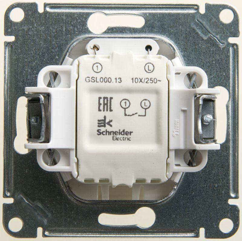 Механизм выключателя 1-кл. СП Glossa 10А IP20 (сх. 1а) 10AX с подсветкой перламутр. SchE GSL000613