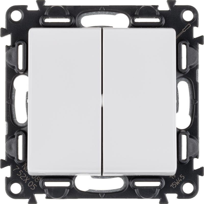 Механизм выключателя 2-кл. СП Valena Life 10А IP20 250В с лиц. панелью безвинт. зажимы бел. Leg 752405