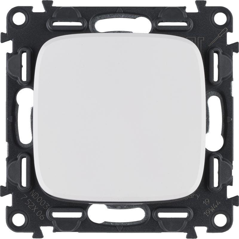 Механизм переключателя 1-кл. СП Valena Allure 10А IP20 250В 10AX с лиц. панелью безвинт. зажимы бел. Leg 752706