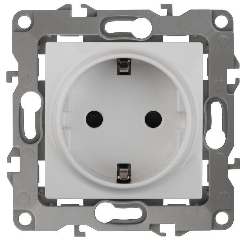 Механизм розетки 1-м СП Эра12 12-2101-01 16А IP20 16AX 250В 2P+E Schuko бел. Эра Б0014675