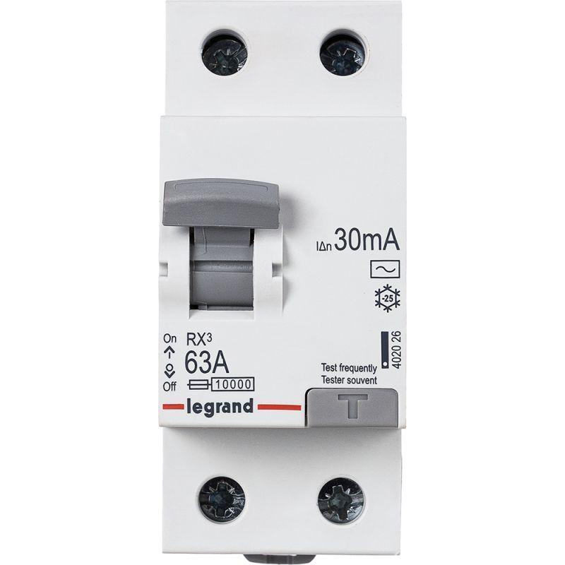 Выключатель дифференциального тока (УЗО) 2п 63А 30мА тип AC RX3 Leg 402026