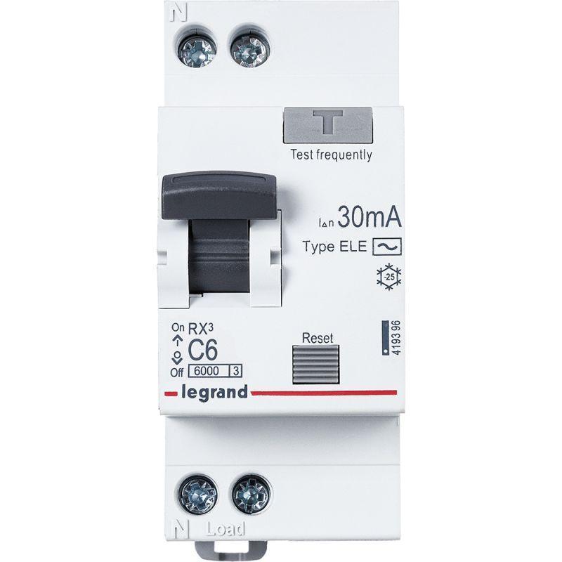 Выключатель автоматический дифференциального тока 1п (1P+N) C 6А 30мА тип AC 6кА RX3 Leg 419396