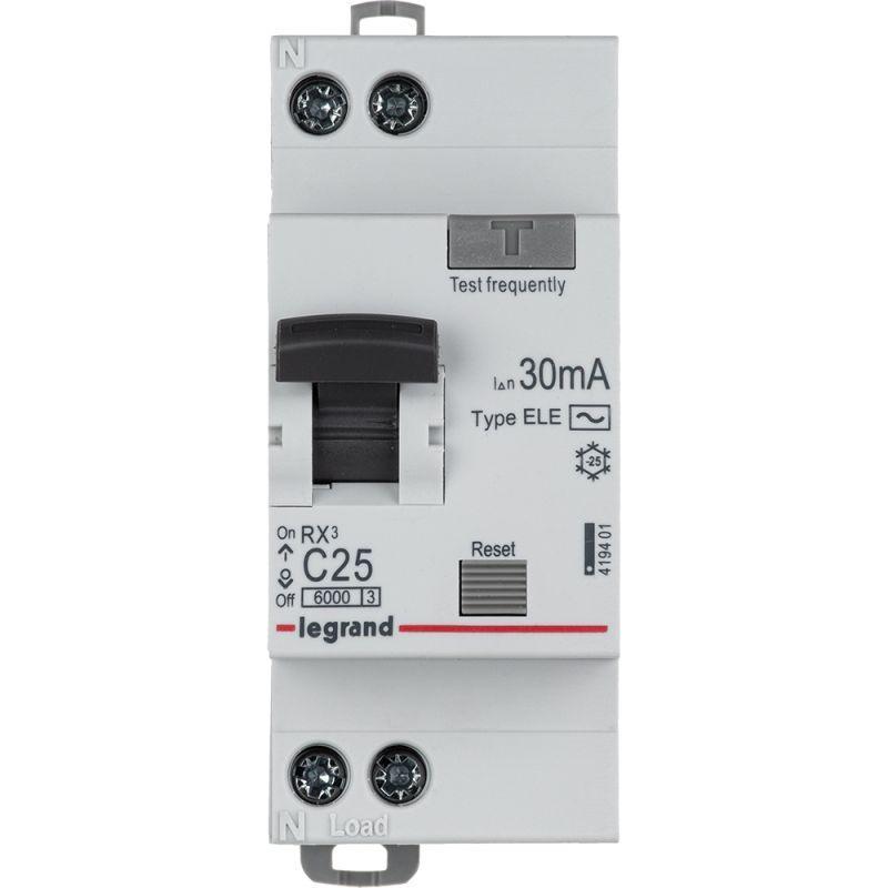 Выключатель автоматический дифференциального тока 1п (1P+N) C 25А 30мА тип AC 6кА RX3 Leg 419401